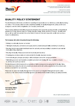 QUALITY STATEMENT POLICY
